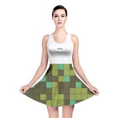 Green tiles pattern Reversible Skater Dress