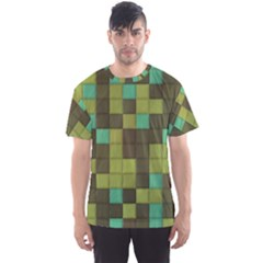 Green Tiles Pattern Men s Sport Mesh Tee