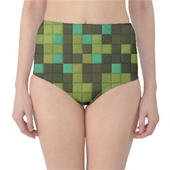 Green tiles pattern High-Waist Bikini Bottoms