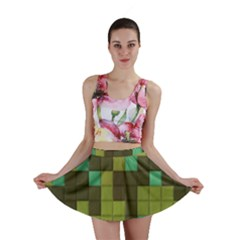 Green Tiles Pattern Mini Skirt