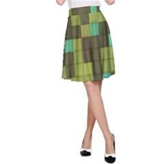 Green tiles pattern A-line Skirt