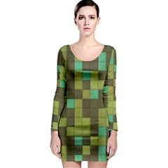 Green tiles pattern Long Sleeve Bodycon Dress