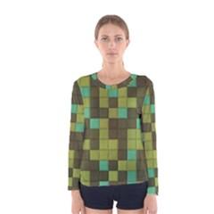 Green tiles pattern Women Long Sleeve T-shirt