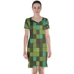 Green Tiles Pattern Short Sleeve Nightdress