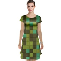 Green tiles pattern Cap Sleeve Nightdress