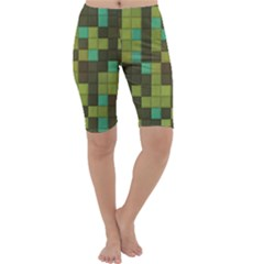 Green tiles pattern Cropped Leggings