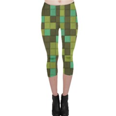 Green Tiles Pattern Capri Leggings