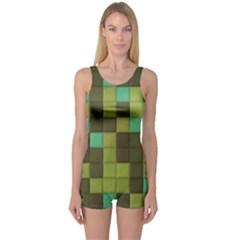 Green Tiles Pattern Women s Boyleg One Piece Swimsuit