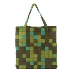 Green tiles pattern Grocery Tote Bag