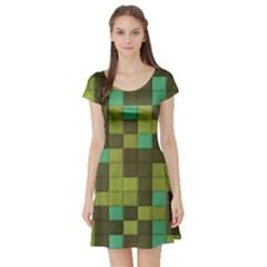 Green tiles pattern Short Sleeve Skater Dress
