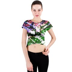 Officially Sexy Floating Hearts Collection Green Crew Neck Crop Top