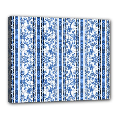 Chinoiserie Striped Floral Print Canvas 20  X 16