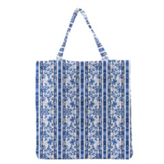 Chinoiserie Striped Floral Print Grocery Tote Bags