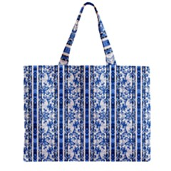 Chinoiserie Striped Floral Print Zipper Tiny Tote Bags