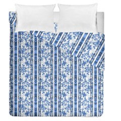 Chinoiserie Striped Floral Print Duvet Cover (full/queen Size)
