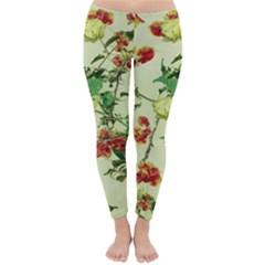 Vintage Style Floral Print Winter Leggings