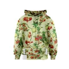 Vintage Style Floral Print Kids Zipper Hoodies