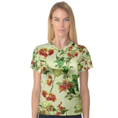 Vintage Style Floral Print Women s V Neck Sport Mesh Tee