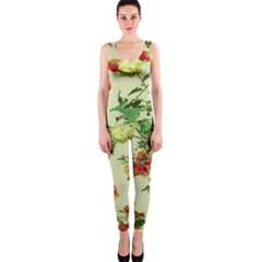 Vintage Style Floral Print OnePiece Catsuits