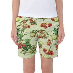 Vintage Style Floral Print Women s Basketball Shorts