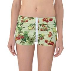 Vintage Style Floral Print Reversible Boyleg Bikini Bottoms