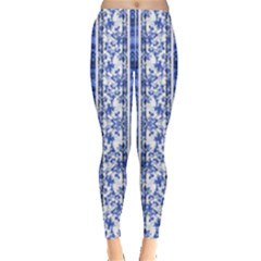 Chinoiserie Striped Vintage Floral Collage Print Women s Leggings