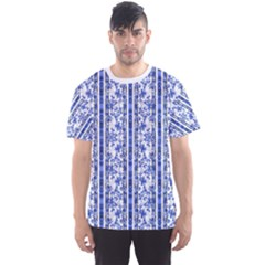 Chinoiserie Striped Vintage Floral Collage Print Men s Sport Mesh Tees