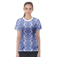 Chinoiserie Striped Vintage Floral Collage Print Women s Sport Mesh Tees