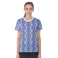 Chinoiserie Striped Vintage Floral Collage Print Women s Cotton Tees