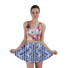 Chinoiserie Striped Vintage Floral Collage Print Mini Skirts