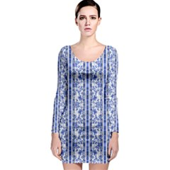 Chinoiserie Striped Vintage Floral Collage Print Long Sleeve Bodycon Dresses
