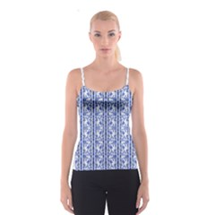 Chinoiserie Striped Vintage Floral Collage Print Spaghetti Strap Tops
