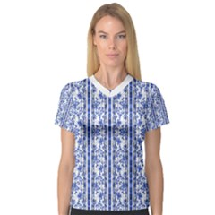 Chinoiserie Striped Vintage Floral Collage Print Women s V-Neck Sport Mesh Tee