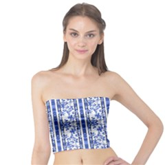 Chinoiserie Striped Vintage Floral Collage Print Women s Tube Tops