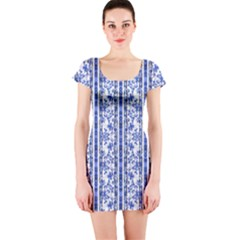 Chinoiserie Striped Vintage Floral Collage Print Short Sleeve Bodycon Dresses