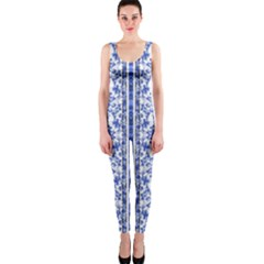 Chinoiserie Striped Vintage Floral Collage Print Onepiece Catsuits