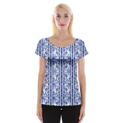 Chinoiserie Striped Vintage Floral Collage Print Women s Cap Sleeve Top