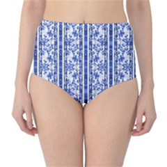 Chinoiserie Striped Vintage Floral Collage Print High-Waist Bikini Bottoms