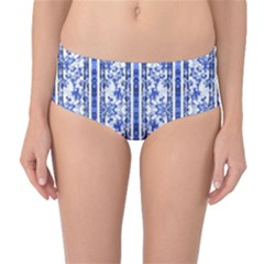 Chinoiserie Striped Vintage Floral Collage Print Mid-Waist Bikini Bottoms