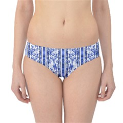 Chinoiserie Striped Vintage Floral Collage Print Hipster Bikini Bottoms