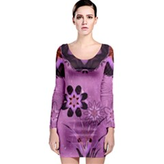 Purple Splatters & Flowers Long Sleeve Bodycon Dress