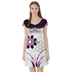 Purple Splatters & Flowers Short Sleeve Skater Dress