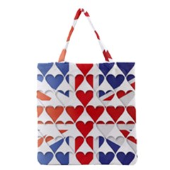 Uk Hearts Flag Grocery Tote Bags