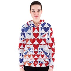 Uk Hearts Flag Women s Zipper Hoodies