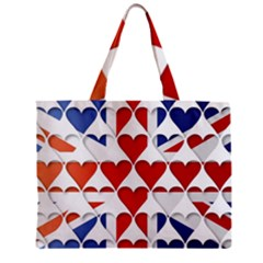 Uk Hearts Flag Zipper Tiny Tote Bags