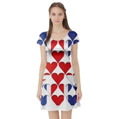 Uk Hearts Flag Short Sleeve Skater Dresses