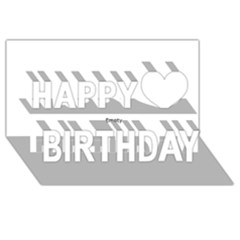 Black and White Wavy Mosaic Happy Birthday 3D Greeting Card (8x4)