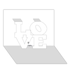 Black And White Wavy Mosaic Love 3d Greeting Card (7x5)