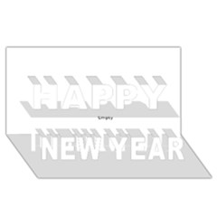 Black and White Wavy Mosaic Happy New Year 3D Greeting Card (8x4)