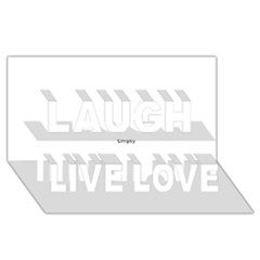 Black and White Wavy Mosaic Laugh Live Love 3D Greeting Card (8x4)